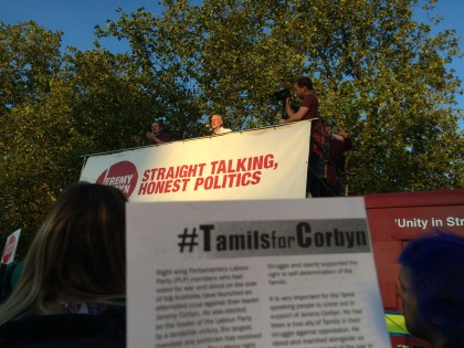 Tamil Solidarity participated in Jeremy Corbyn rally