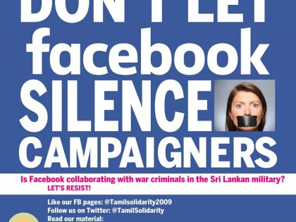 Don't let Facebook silence campaigners -Please promote Tamil Solidarity page FB now